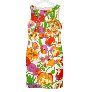 David Meister Sleeveless Floral Sheath Dress Sz 2